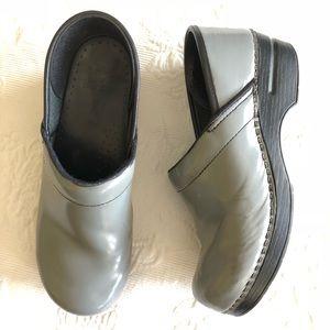 Dansko Gray Leather Clogs